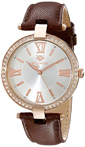 Wellington Ladies Quartz Watch with Silver Dial Analogue Display and Brown Leather Strap WN502-315