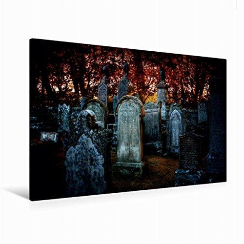 Premium Textil-Leinwand 120 cm x 80 cm quer Gothic Fantasy - Warten auf die Nacht   Wandbild, Bild auf Keilrahmen, Fertigbild auf echter Leinwand, Leinwanddruck (CALVENDO (Grabsteine Gotische)