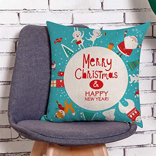 Higlles Leinen Dekorativer Kissenbezug Weihnachtsmann Schneemann Frohe Weihnachten 45 cm x 45 cm Weihnachtskissenbezug Sofakissen