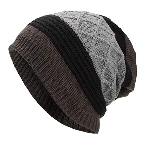 Ouneed Strickmützen Damen Winter,Frauen Männer Warm Baggy Weave Crochet Winter Wolle Knit Ski Beanie Skull Caps Hut (Grau) Crochet Knit Beanie Skull Cap