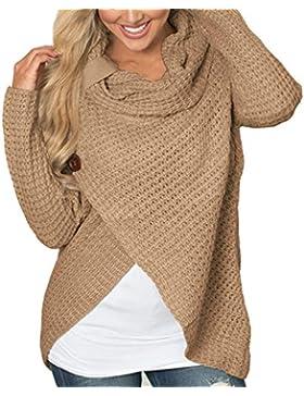 Mujer Suéter Jerseys Elegante Punto Suelto Pullover Tops Asimétrica Moda Punto Jerséis Tops para Otoño Invierno