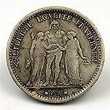 JJZHY Noyau De Cuivre Dollar Argent France 1875 Artisanat De Simulation Pièce De Monnaie Franc Pièce De Monnaie,Pièce commémora,Taille Unique