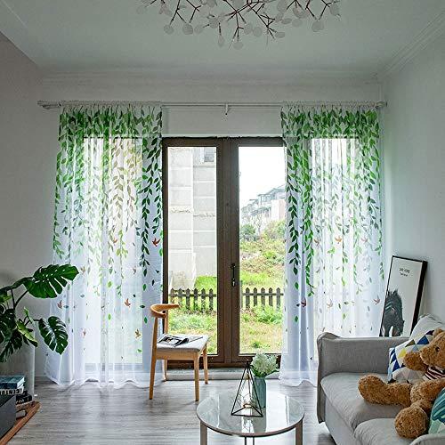 WRMING Blätter Muster Voile Vorhang 2 Stücke Transparent Gardine Fensterschal Vorhänge für Wohnzimmer Schlafzimmer,Green,100X200cm (Wohnzimmer Vorhänge Green Für)