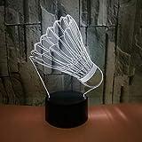 WZYMNYD New Creative 3DBadminton Lampada da tavolo 7 colori Touch Remote Home Decoration regalo per bambini Night Light