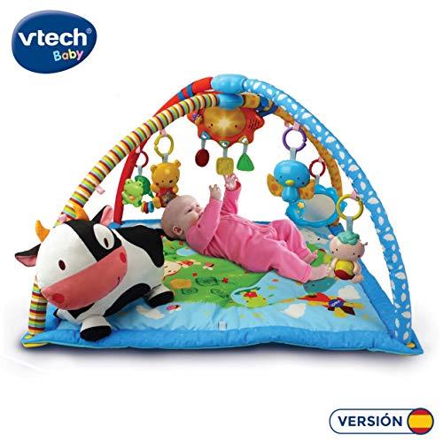 VTech Mantita de juego cantarín 2 en 1, manta y gimnasio de aprendizaje para bebé con más de 40 canciones...