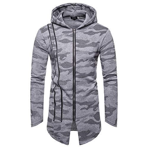 Sannysis Herren Slim Fit Pullover Langarm Mantel Casual Camouflage Reißverschluss mit Kapuze Langen Mantel Strickjacke Outwear