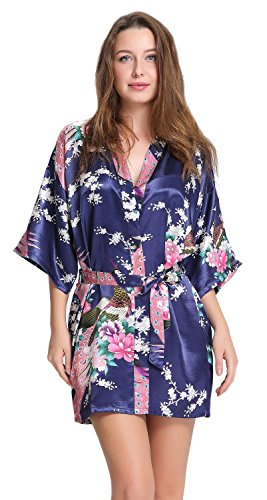 aibrou da damigella d' onore Accappatoio corto Pavone fiori seta Stain Kimono Vestaglia Dark Blue Small
