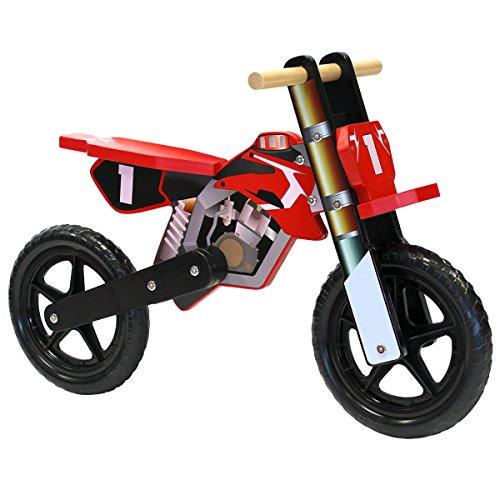 Draisienne en bois style moto - vélo d'équilibre - enfant - rouge