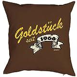 Kissen zum Geburtstag - Goldstück seit 1966 - Dekokissen, Sitzkissen mit Füllung
