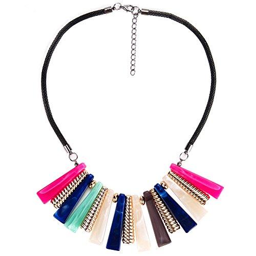 JHAYBB Frauen Europa Amerika Farbe Halsketten Partys Bankette Kostüme Zubehör Schlüsselbein Ketten Tanz Persönlichkeit,Multicolor (Tanz Kostüm Europa)
