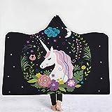 AdoraBlanket Coperta coperta con cappuccio coperta coperta da cappuccio con cappuccio da cavallo con una corna nera,130x150cm