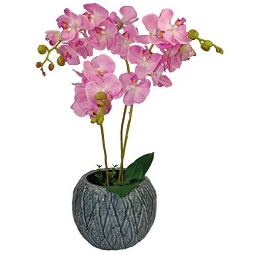 60cm Künstliche Luxus Orchid -Triple Stem - Rosa Realistische Pflanze in schwarzem Kunststoff-Topf