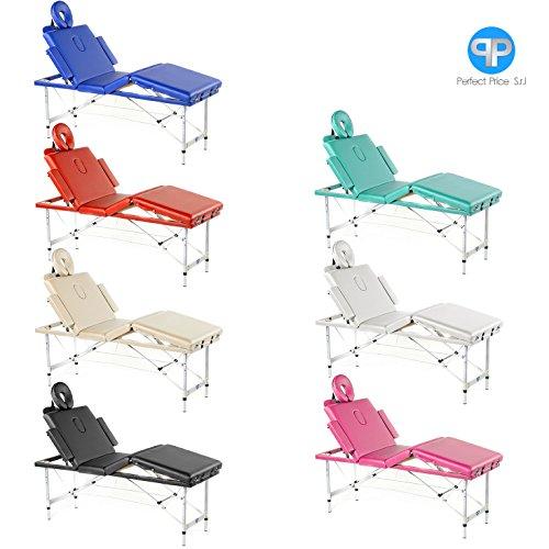 Lettino da massaggio 4 zone alluminio portatile confort cuscino 8 cm (blu)