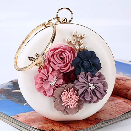 MEMIND Europa und Amerika Frau Abendessen Tasche Blume Paket runde Abendkleid Dame Taschen Perle bankett Kupplung Kette (Die Verschiedenen Trachten Der Verschiedenen Länder)