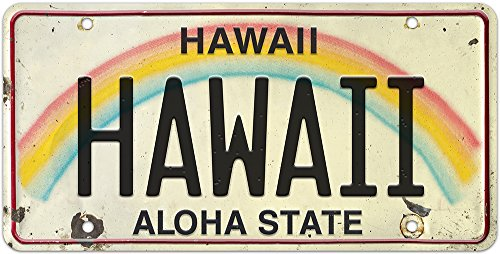 Pacifica Island Art 15cm x 30cm Geprägte Deko-Kennzeichen im Vintage-Stil - Hawaii -