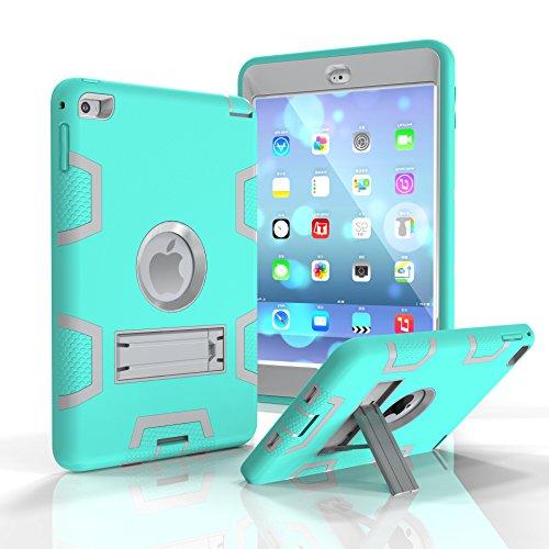 ür iPad Mini 4, dreilagig, Polycarbonat und Silikon, stoßfest, stoßfest, stoßfest, schützt das gesamte Gehäuse mit Ständer für iPad Mini 4, 20,1 cm (7,9 Zoll) 2015 Modell Tablet ()