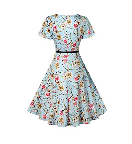Eudolah Damen Vintage 50er Cap Sleeves Dot Einfarbig Rockabilly Swing  Kleider Hell Blau