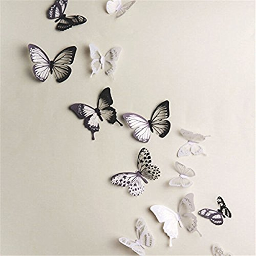 18 Piezas 3D Mariposa Pegatinas de Pared Adhesivo Etiquetas Mariposas Decoración de la Pared Para Casa...