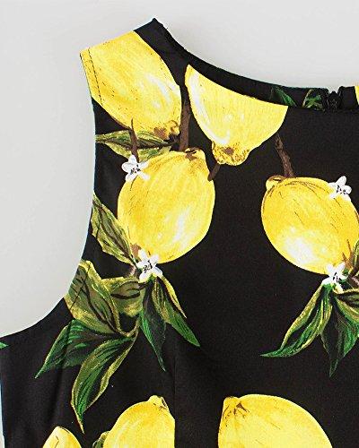 50S Rockabilly Vestito Limone Stampa Abito Giallo Cocktail Prom Vestito Donna Vestiti Nero