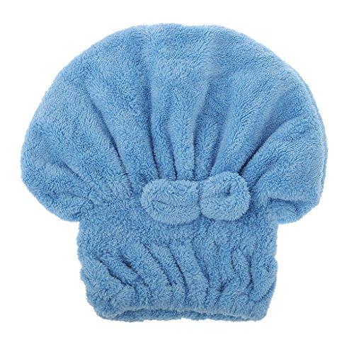 Trockenes Haar Hut Mikrofaser Haar Turban Schnell Dusch Bad Kappen Eingewickelt Handtuch Kappe Duschhaube - Blau