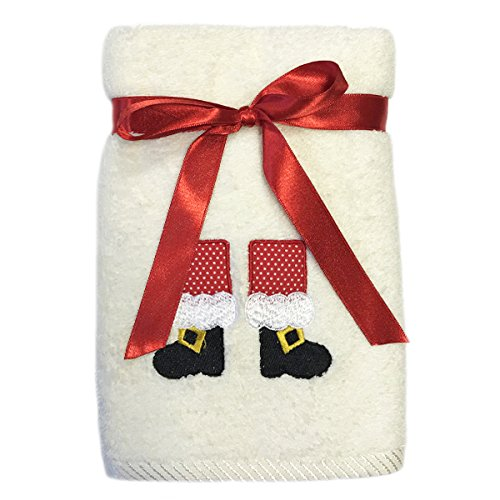Festive Bellissimo Christmas Santa Boots Embroidered 100 Cotton Hand Towel Cream Buy Online In Grenada At Grenada Desertcart Com Productid 51928214