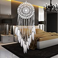 Everpert - Atrapasueños decorativo para colgar en la pared, decoración del coche, manualidades, color blanco