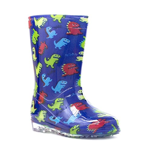 Zone - Kids Blue Dinosaurs Wellington Boot - Size 8 - Blue