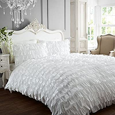 Flamenco Can Can Frilled Designer Double Duvet Quilt Cover Bedding Set - White - cheap UK bedding store.