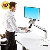 North Bayou Stehpult für den Schreibtisch, höhenverstellbar, für 22-35Zoll-Monitore (56-89cm), Halterung für Tastatur und Monitor weiß
