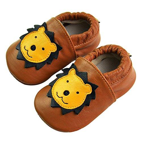Tongchou Weiches Leder Babyschuhe Lauflernschuhe Krabbelschuhe Madchen Junge Unisex Cafe Lowe 6-12 Monate (Cafe Schuhe)