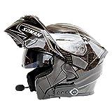 NF Norme de sécurité pour Le Casque de Moto modulaire intégré Bluetooth - Casque de Moto général pour Le Visage intégral,C,M