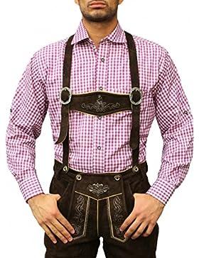 Karo Bayerisches Trachtenhemd hemd für lederhosen Trachtenmode Lila /kariert