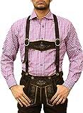 Karo Bayerisches Trachtenhemd hemd für lederhosen Trachtenmode Lila /kariert, Hemdgröße:L