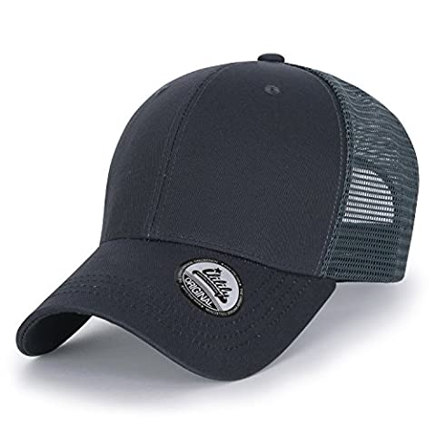 ililily Extra Big Size Adjustable Mesh Back Curved Baseball Cap Trucker Hat (ballcap-1258-2)