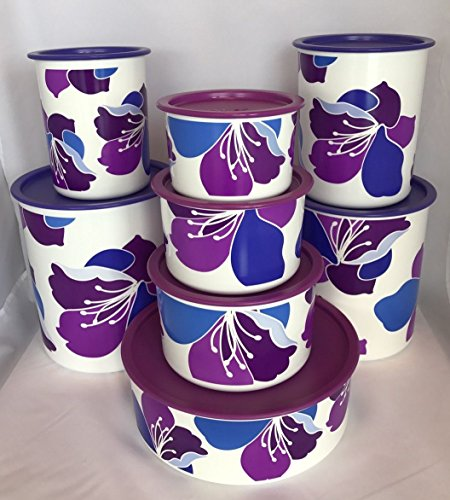 Tupperware Spring Purple Blossoms One Touch® Complete 8 Canister Set