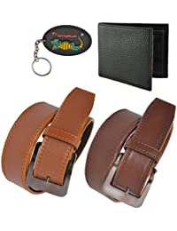 Elligator Classic Men's Synthetic Leather Belt ,Wallet With Key Chain Combo For Men's(Two Belt,One Wallet With...