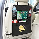 """Luxury Car Back Seat Organizer with Tablet Holder - Touch Screen Pocket for Android & iOS Tablets up to 9.1"""" x 7.1"""" - Multipurpose Use as Auto Seat Back Protector, Kick Mat, Car Organizer by Intipal"""