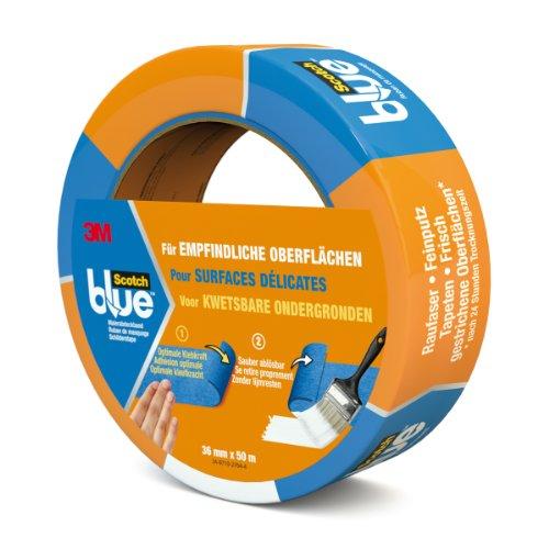 Preisvergleich Produktbild Scotch Blue 80EU3650 Malerabdeckband (Malerkrepp) optimale Klebkraft auf empfindlichen Oberflächen,  36 mm x 50 m,  blau