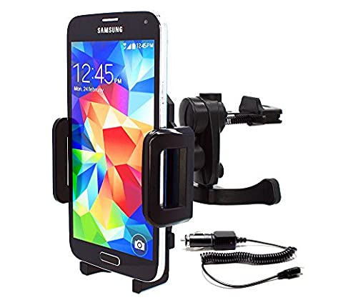 mobilefox® 360° Car Cradle for Samsung Galaxy S2 / S3 / S4 / S5 / Mini / Active / Alpha Vehicle Cell Phone Mount incl. Charger Cable