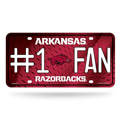 Rico NCAA # 1Fan Metall Auto Tag, Arkansas Razorbacks - Arkansas Razorbacks Auto