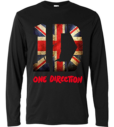 T-shirt manches longues homme - One Direction - union jack - Long Sleeve 100% coton LaMAGLIERIA, S, Noir