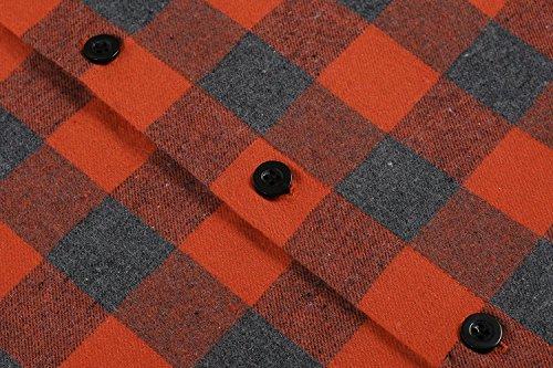 OURS Herren Karohemd Regular Fit Freizeit Bayerisches Hemd Für Oktoberfest Langarm Kariert Hemden Grau und Orange