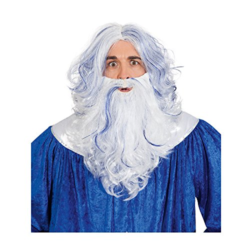 Kostüm Algen - Orlob NEU Perücke und Bart Neptun, weiß-blau