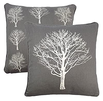 "2 X Forest Trees Grey White 100% Cotton Piped Cushion Cover 17"" - 43cm produced by Cushions Unique. - quick delivery from UK."