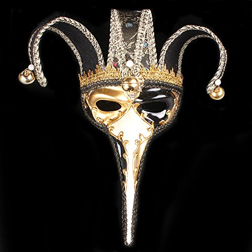 K&C handgemachte volle Gesichtsmaske Halloween Prom Party Hochzeit Venetian Masquerade Maske Joker Maske schwarz