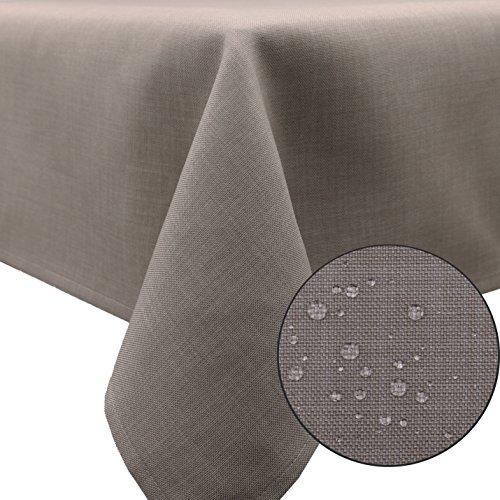 Große Kunststoff-tischdecke (ZOLLNER® abwischbarer Tischdecke / Tischtuch in zarter Leinenstruktur, steingrau 140x220 cm, in verschiedenen Größen und Farben erhältlich, vom Hotelwäschespezialisten, Serie