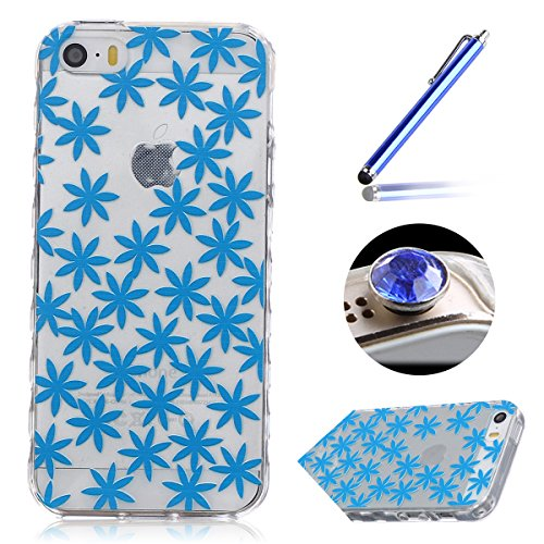 Etsue iPhone 5/5S Housse,Etui Housse Coque de protection Silicone TPU Gel pour iPhone 5/5S,silicone coloré imprimé en caoutchouc souple de gel Housse pour iPhone 5/5S + 1x Bleu style + 1x Bling poussi feuilles bleues