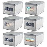 MetroDecor mDesign 6er-Set stapelbare Aufbewahrungsbox mit Sichtfenster für den Schrank, das Schlafzimmer usw. – große Ordnungsbox mit Deckel zur Kleideraufbewahrung aus Kunstfaser – grau