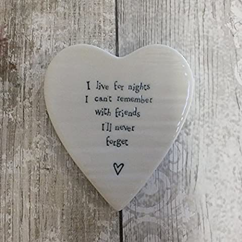 East of India Heart Coaster I live for nights I cant remember with friends Ill never forget NEW STOCK 2016 by East of