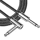 """Syncwire Cavo Jack Stereo 1/4"""" - 3m Cavi Audio 6.35mm Jack Dritto a Jack con Angolo a Destra, Nylon Intrecciato Cavo per Chitarra Elettrica, Basso, Mandolino Elettrico, Amplificatore e PRO Audio"""
